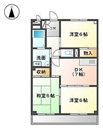 愛知県名古屋市緑区姥子山5丁目の賃貸マンションの間取り