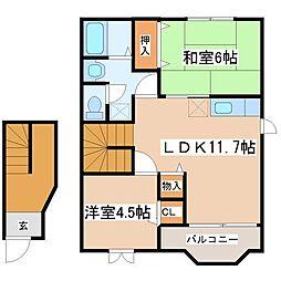 クレストール福井B棟[2階]の間取り