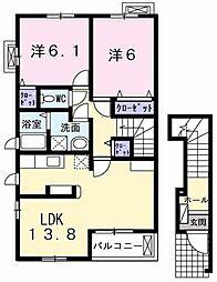 プリームスホルティー[2階]の間取り