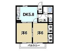 奈良県生駒市西松ケ丘の賃貸アパートの間取り