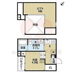 大阪府堺市堺区中之町西1丁の賃貸アパートの間取り