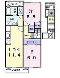 レジデンス稲富A[2階]の間取り