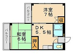 福岡県福岡市城南区別府5丁目の賃貸マンションの間取り