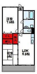 福岡県宗像市東郷6丁目の賃貸マンションの間取り