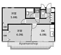 野原東林間コーポ[3階]の間取り