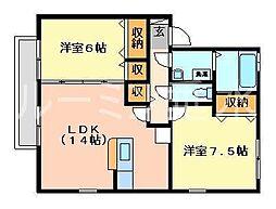 兵庫県加東市南山3丁目の賃貸アパートの間取り
