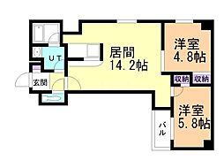 CITY SPIRE南3条(旧KW Place南3条) 2階2LDKの間取り
