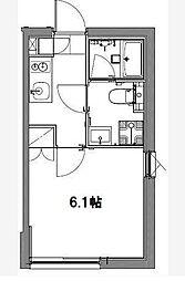 京急空港線 大鳥居駅 徒歩2分の賃貸マンション 2階1Kの間取り
