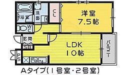 Osaka Metro御堂筋線 なかもず駅 徒歩12分の賃貸マンション 1階1LDKの間取り