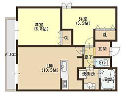大阪府大阪市東成区東中本3丁目の賃貸マンションの間取り