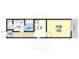 machi terrace 高殿 3階1Kの間取り
