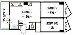 東京都世田谷区赤堤1丁目の賃貸マンションの間取り