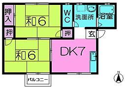 メゾン中菜畑[2階]の間取り
