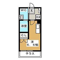 ハーミットクラブハウス日吉IV 1階ワンルームの間取り