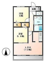 愛知県名古屋市緑区篭山3丁目の賃貸マンションの間取り
