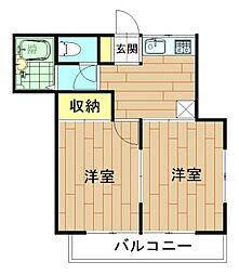 神奈川県川崎市中原区下新城3丁目の賃貸アパートの間取り