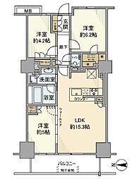 東京臨海高速鉄道りんかい線 品川シーサイド駅 徒歩3分の賃貸マンション 7階3LDKの間取り
