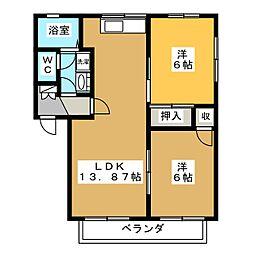 グランデュールココB棟[2階]の間取り