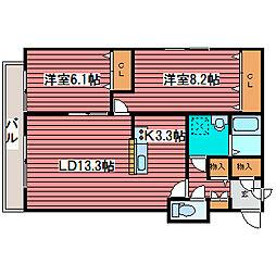 カトレア月寒東3[1階]の間取り