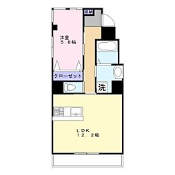 JR南武線 稲田堤駅 徒歩12分の賃貸マンション 2階1LDKの間取り