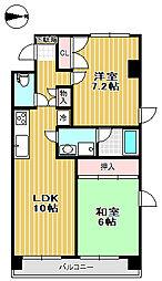 奥江ビルガーデングレース 5階2LDKの間取り
