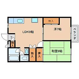 奈良県橿原市和田町の賃貸アパートの間取り