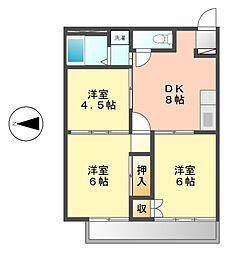 愛知県名古屋市中村区城屋敷町2丁目の賃貸アパートの間取り