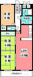 KマンションNo.3[403号室]の間取り