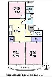 サンハイツ六浦[3-E号室]の間取り