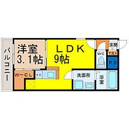 愛知県名古屋市東区大幸3の賃貸アパートの間取り