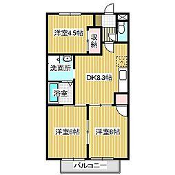 愛知県名古屋市中川区伏屋1丁目の賃貸アパートの間取り