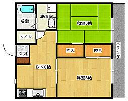広島県安芸郡府中町本町2丁目の賃貸アパートの間取り