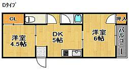 シャンブル北加賀屋[2階]の間取り