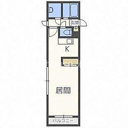 札幌市営東豊線 北13条東駅 徒歩3分の賃貸アパート 2階1Kの間取り