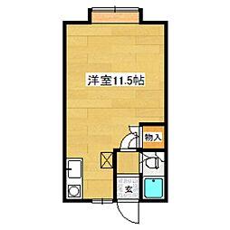 HANAハウス 1階ワンルームの間取り