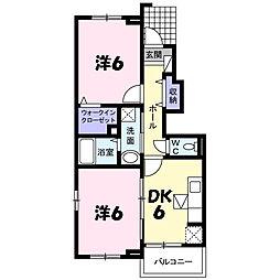 兵庫県三田市天神3丁目の賃貸アパートの間取り