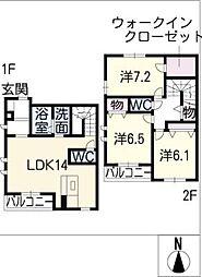 [タウンハウス] 愛知県名古屋市天白区植田2丁目 の賃貸【愛知県 / 名古屋市天白区】の間取り