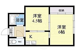 Osaka Metro御堂筋線 中津駅 徒歩10分の賃貸マンション 3階2Kの間取り