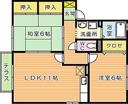 サウスヴィラ A棟[2階]の間取り