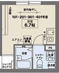 COCOFLAT KITA-SENJU North 3階ワンルームの間取り