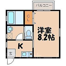 広島県広島市安芸区船越5丁目の賃貸アパートの間取り