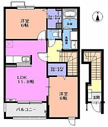愛知県一宮市多加木1丁目の賃貸アパートの間取り