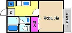 兵庫県芦屋市宮塚町の賃貸アパートの間取り
