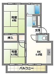 大阪府寝屋川市大利元町の賃貸アパートの間取り