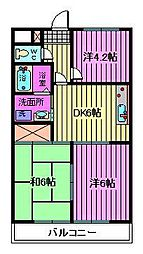 埼玉県川口市並木1丁目の賃貸マンションの間取り