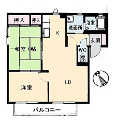 広島県府中市高木町の賃貸アパートの間取り