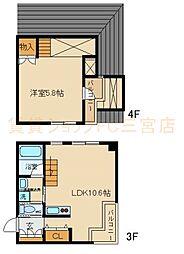JR東海道・山陽本線 三ノ宮駅 徒歩11分の賃貸マンション 3階1LDKの間取り