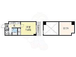 ハーバーハウス大阪 6階1Kの間取り