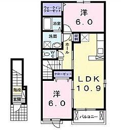 広島県福山市城興ケ丘の賃貸アパートの間取り