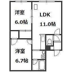 北海道札幌市西区八軒四条東2丁目の賃貸アパートの間取り